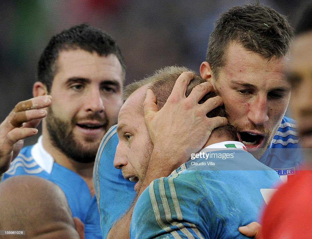 Leonardo Ghiraldini of Italy (C) celebrates after scoring a second try during the international test match between Italy and Tonga at Mario Rigamonti Stadium on November 10, 2012 in Brescia, Italy.