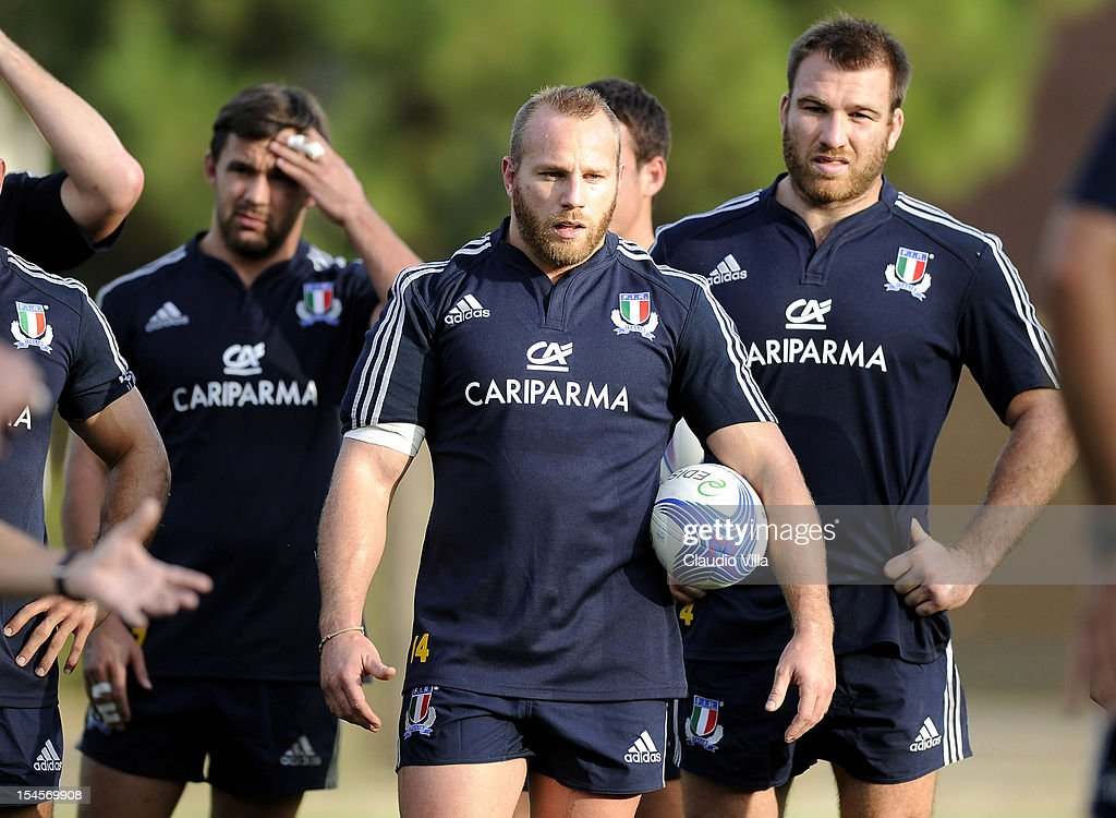 Leonardo Ghiraldini of Italy (C) during a training session on October 22, 2012 in Rome, Italy.