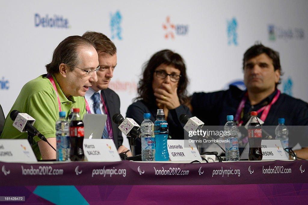 Leonardo Gryner, Chief Executive Officer of the Rio 2016 Organising Committee for the Olympic and Paralympic Games, speaks during a press conference due to Rio 2016 Paralympic Games and Flag Handover on day 9 of the London 2012 Paralympic Games at on September 7, 2012 in London, England.