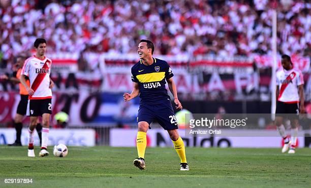 Leonardo Jara of Boca Juniors celebrates after winning a match between River Plate and Boca Juniors as part of Torneo Primera Division 2016/17 at...