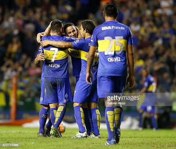 Leonardo Jara of Boca Juniors celebrates with teammates after scoring the fifth goal of his team during a match between Boca Juniors and Deportivo...