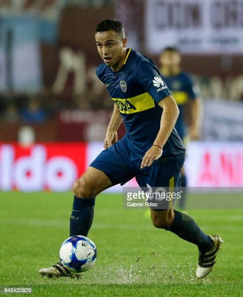 Leonardo Jara of Boca Juniors drives the ball during a match between Lanus and Boca Juniors as part of the Superliga 2017/18 at Ciudad de Lanus...