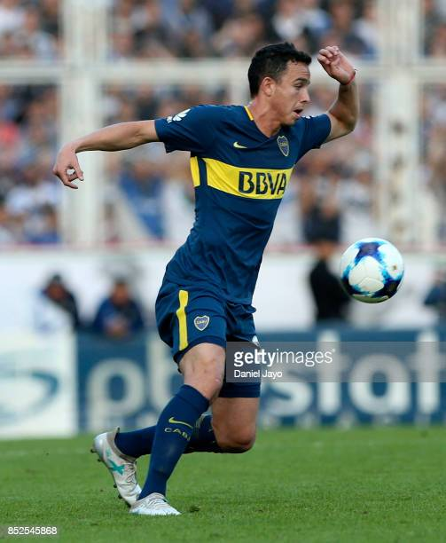 Leonardo Jara of Boca Juniors drives the ball during a match between Velez Sarsfield and Boca Juniors as part of the Superliga 2017/18 at Estadio...