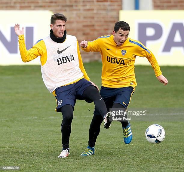Leonardo Jara of Boca Juniors in action during a Boca Juniors Training Session at Alberto J Armando Stadium on August 02 2016 in Buenos Aires...