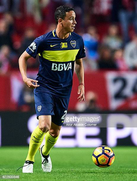 Leonardo Jara of Boca Juniors in action during the match between Sevilla FC vs Boca Juniors as part of the friendly match 'Trofeo Antonio Puerta' at...