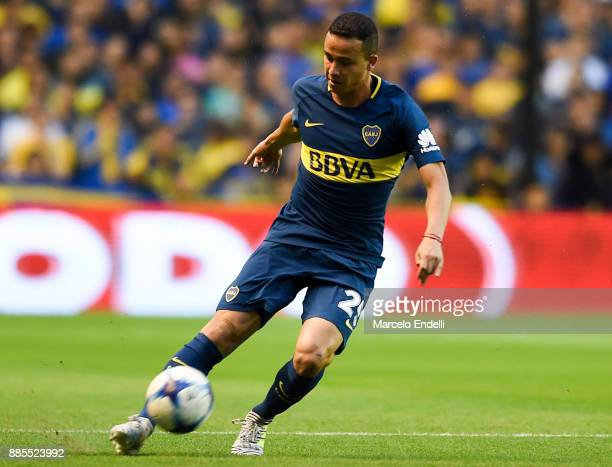 Leonardo Jara of Boca Juniors kicks the ball during a match between Boca Juniors and Arsenal as part of the Superliga 2017/18 at Alberto J Armando...