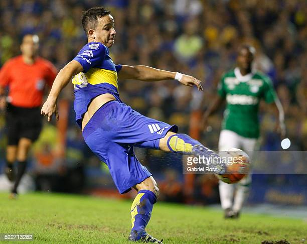 Leonardo Jara of Boca Juniors kicks the ball to score the fifth goal of his team during a match between Boca Juniors and Deportivo Cali as part of...
