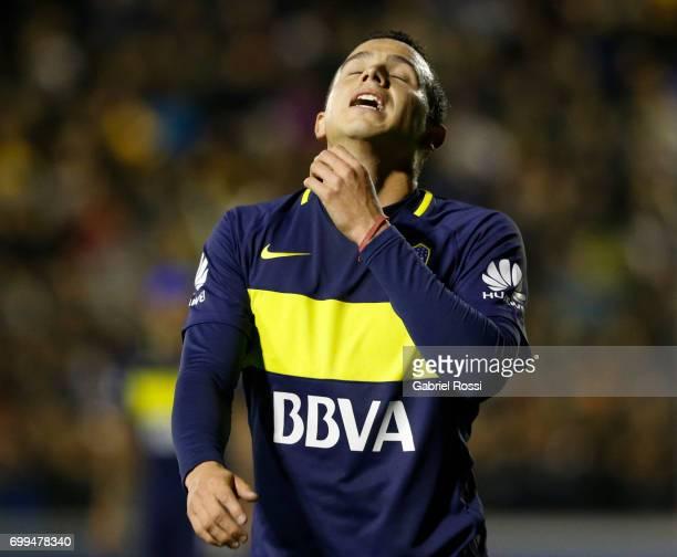 Leonardo Jara of Boca Juniors reacts during a match between Olimpo and Boca Juniors as part of Torneo Primera Division 2016/17 at Roberto Natalio...