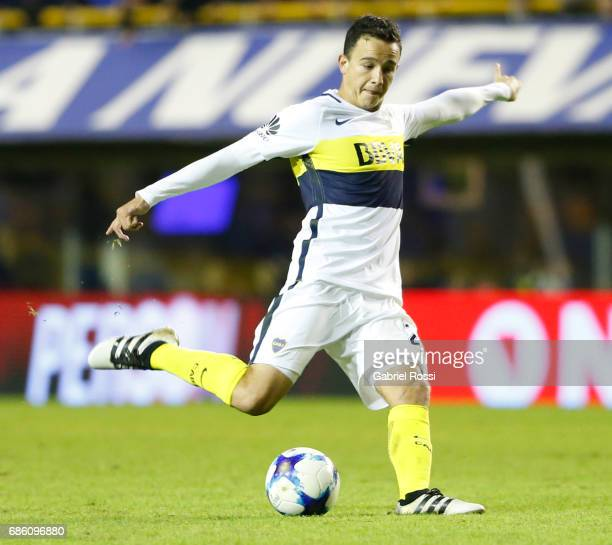 Leonardo Jara of Boca Juniors takes a shot during a match between Boca Juniors and Newell's Old Boys as part of Torneo Primera Division 2016/17 at...