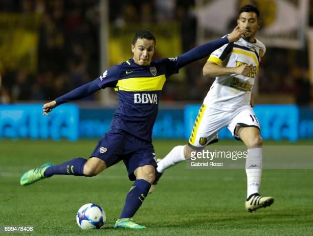Leonardo Jara of Boca Juniors takes a shot during a match between Olimpo and Boca Juniors as part of Torneo Primera Division 2016/17 at Roberto...