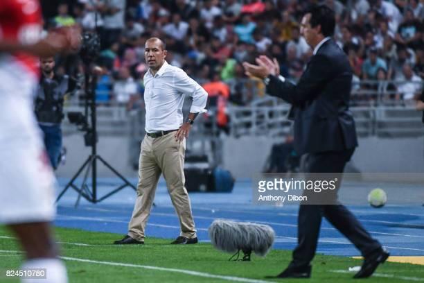 Leonardo Jardim coach of Monaco and Unai Emery coach of PSG during the Champions Trophy match between Monaco and Paris Saint Germain at Stade...