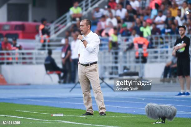 Leonardo Jardim coach of Monaco during the Champions Trophy match between Monaco and Paris Saint Germain at Stade IbnBatouta on July 29 2017 in...