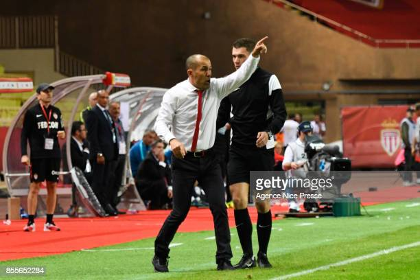 Leonardo Jardim coach of Monaco during the Ligue 1 match between AS Monaco and Montpellier Herault SC at Stade Louis II on September 29 2017 in Monaco