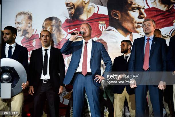 Leonardo Jardim head coach Dmitri Rybolovlev chairman and Vadim Vasilyev vicepresident of Monaco during AS Monaco French Ligue 1 Winners Parade on...
