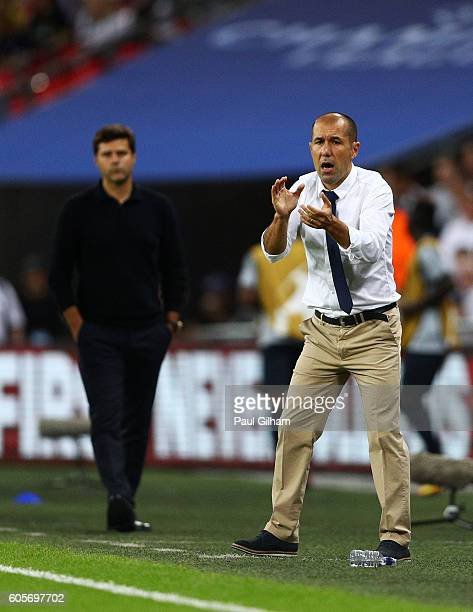 Leonardo Jardim head coach of AS Monaco encourages his players during the UEFA Champions League match between Tottenham Hotspur FC and AS Monaco FC...