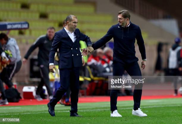 Leonardo Jardim head coach of AS Monaco FC and Ralph Hasenhuettl Manager of RB Leipzig shake hands after the UEFA Champions League group G match...