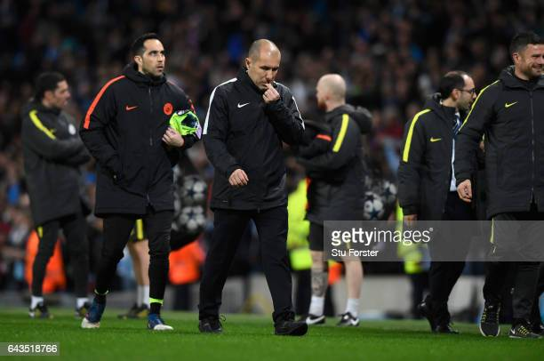 Leonardo Jardim head coach of AS Monaco looks dejected in defeat after the UEFA Champions League Round of 16 first leg match between Manchester City...
