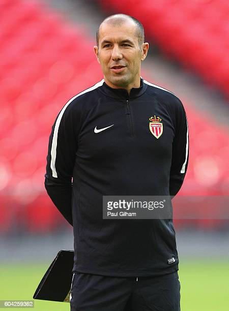 Leonardo Jardim head coach of AS Monaco looks on during the AS Monaco training session ahead of their UEFA Champions League Group E match against...