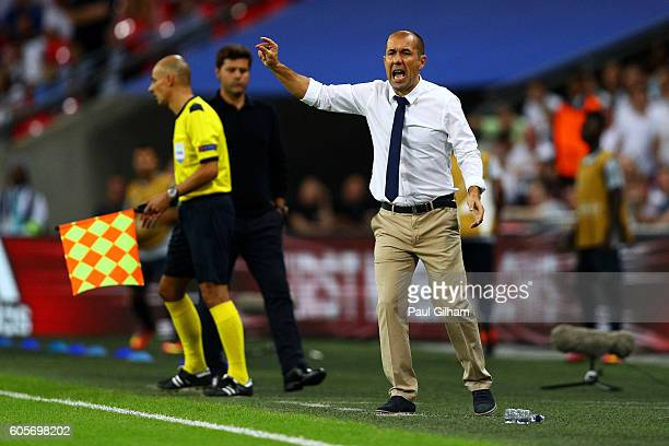 Leonardo Jardim head coach of AS Monaco looks on during the UEFA Champions League match between Tottenham Hotspur FC and AS Monaco FC at Wembley...