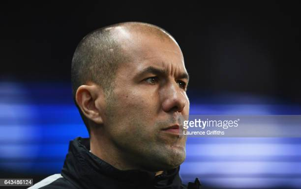Leonardo Jardim head coach of AS Monaco looks on prior to the UEFA Champions League Round of 16 first leg match between Manchester City FC and AS...