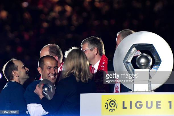 Leonardo Jardim head coach of Monaco celebrates winning the Ligue 1 title after the Ligue 1 match between As Monaco and AS Saint Etienne at Stade...