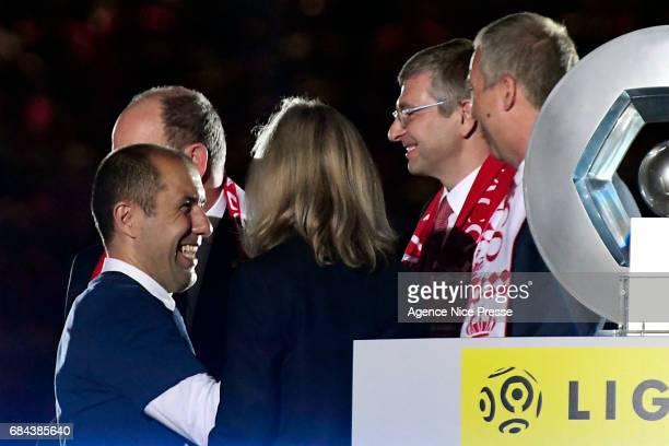 Leonardo Jardim head coach of Monaco celebrates winning the Ligue 1 title with Dmiti Dmitiy Rybolovlev Chairman of Monaco after the Ligue 1 match...