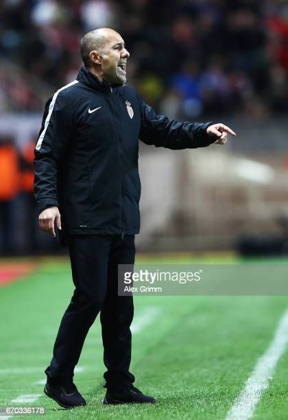 Leonardo Jardim head coach of Monaco in action during the UEFA Champions League Quarter Final second leg match between AS Monaco and Borussia...