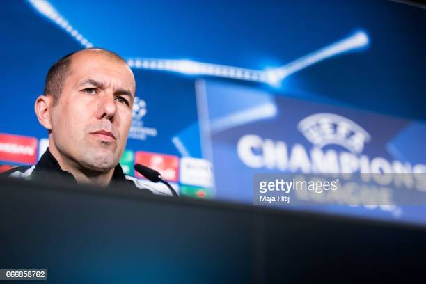 Leonardo Jardim head coach of Monaco speaks during a press conference at Signal Iduna Park on April 10 2017 in Dortmund Germany