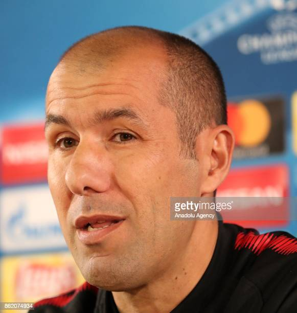 Leonardo Jardim Head coach of Monaco speaks during a press conference ahead of UEFA Champions League Group G match between Monaco and Besiktas at...