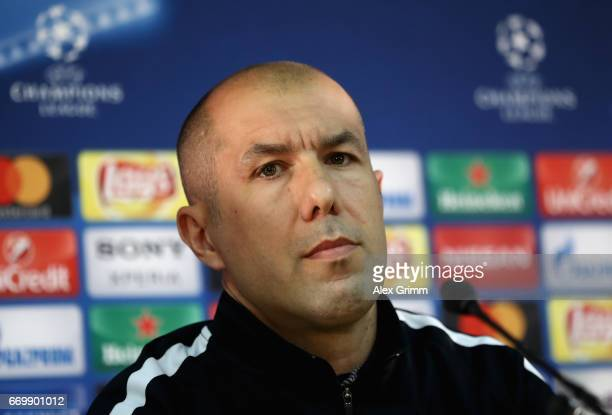 Leonardo Jardim manager of AS Monaco speaks to the media during the AS Monaco Press Conference at the Stade Louis II on April 18 2017 in Monaco Monaco