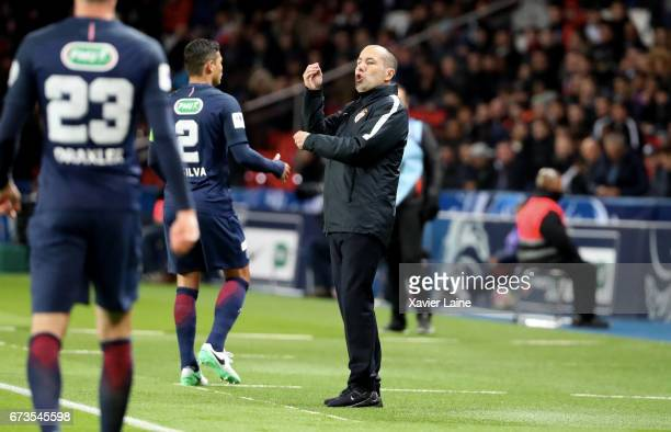 Leonardo Jardim of AS Monaco reacts during the French Cup SemiFinal match between Paris SaintGermain and As Monaco at Parc des Princes on April 26...
