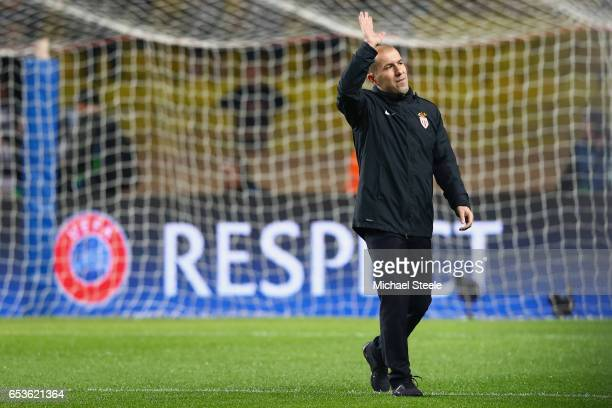 Leonardo Jardim the coach of Monaco waves to the home supporters ahead of the UEFA Champions League Round of 16 second leg match between AS Monaco...