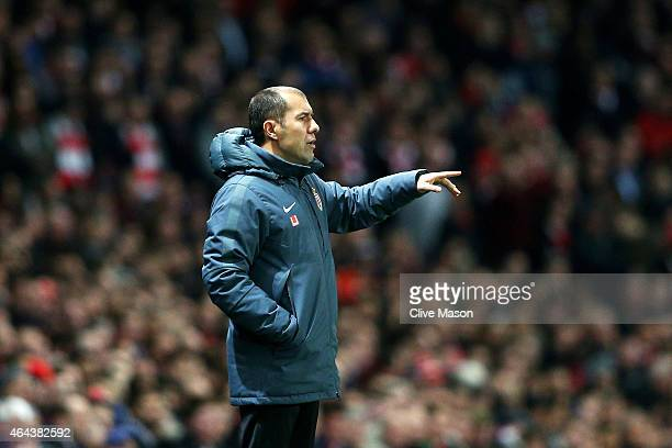 Leonardo Jardim the manager of Monaco directs his players during the UEFA Champions League round of 16 first leg match between Arsenal and Monaco at...