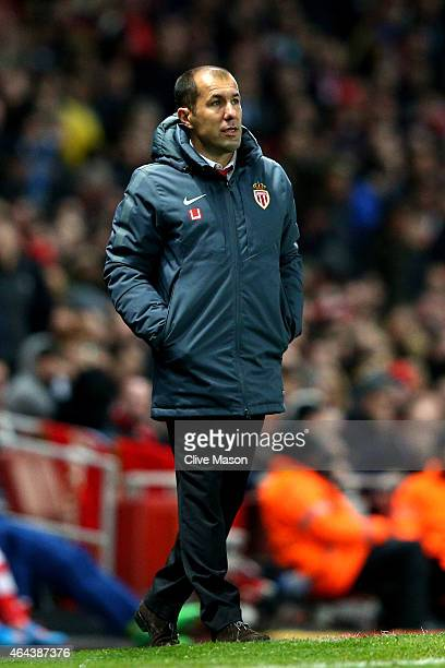 Leonardo Jardim the manager of Monaco looks on during the UEFA Champions League round of 16 first leg match between Arsenal and Monaco at The...