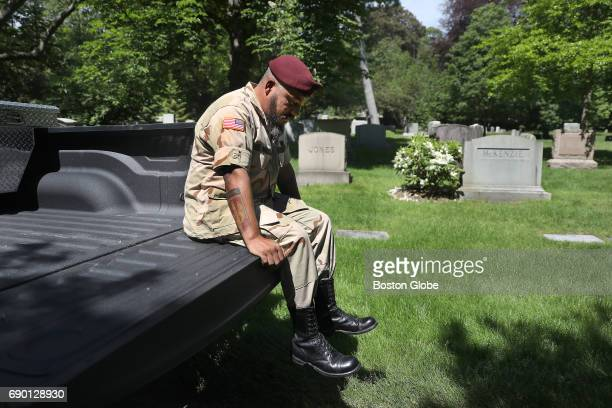 Leonardo 'Leo' Diaz of Watertown who was a paratrooper in the Gulf War visits Mt Auburn Cemetery in Cambridge MA where his fatherinlaw and friend are...