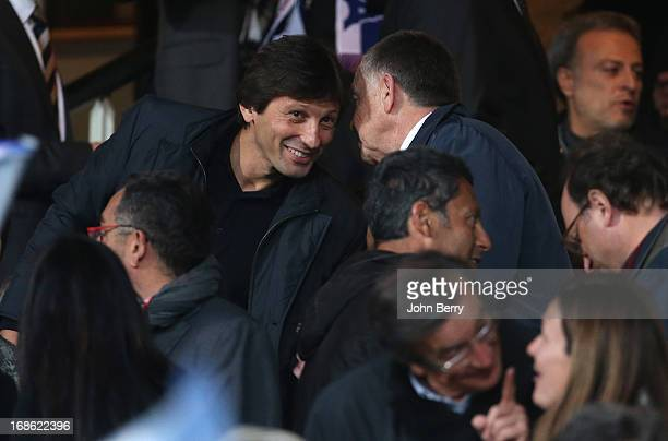 Leonardo manager of PSG and JeanMichel Aulas president of Lyon in the stands during the Ligue 1 match between Olympique Lyonnais OL and Paris...