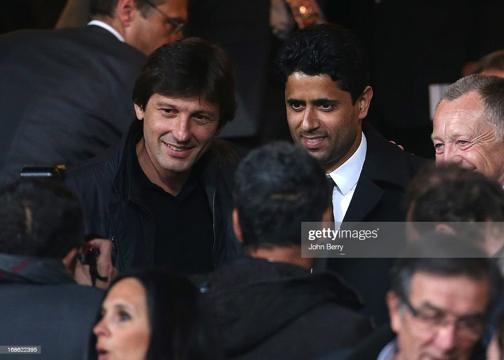 Leonardo, manager of PSG and Nasser Al-Khelaifi, president of PSG in the stands during the Ligue 1 match between Olympique Lyonnais, OL, and Paris Saint-Germain FC, PSG, at the Stade Gerland on May 12, 2013 in Lyon, France.