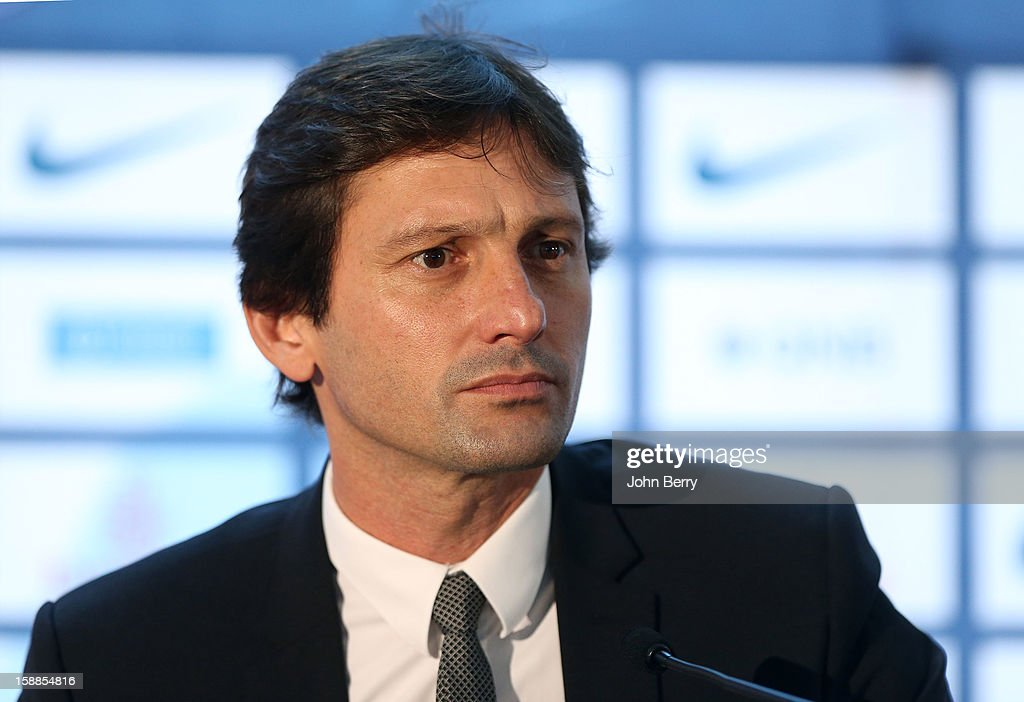 Leonardo, manager of PSG, attends the official unveiling of Lucas Moura as a player of Paris Saint-Germain during a press conference and a jersey presentation with Nasser Al-Khelaifi, president of PSG at the Museum of Islamic Art on January 1, 2013 in Doha, Qatar.