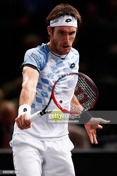 Leonardo Martin Mayer of Argentina in action against against Richard Gasquet of France during Day 3 of the BNP Paribas Masters held at AccorHotels...