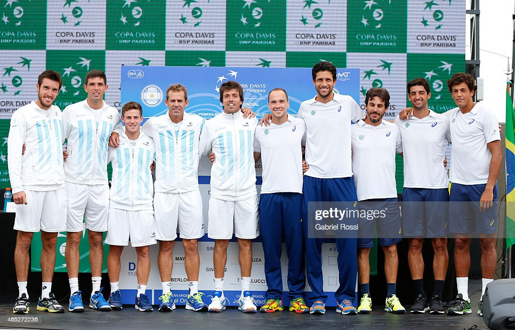 <a gi-track='captionPersonalityLinkClicked' href=/galleries/search?phrase=Leonardo+Mayer&family=editorial&specificpeople=2331993 ng-click='$event.stopPropagation()'>Leonardo Mayer</a>, <a gi-track='captionPersonalityLinkClicked' href=/galleries/search?phrase=Federico+Delbonis&family=editorial&specificpeople=8904860 ng-click='$event.stopPropagation()'>Federico Delbonis</a>, Diego Schwarztman, Daniel Orsanic and <a gi-track='captionPersonalityLinkClicked' href=/galleries/search?phrase=Carlos+Berlocq&family=editorial&specificpeople=553854 ng-click='$event.stopPropagation()'>Carlos Berlocq</a> of Argentina and <a gi-track='captionPersonalityLinkClicked' href=/galleries/search?phrase=Bruno+Soares+-+Tennis+Player&family=editorial&specificpeople=11650044 ng-click='$event.stopPropagation()'>Bruno Soares</a>, <a gi-track='captionPersonalityLinkClicked' href=/galleries/search?phrase=Marcelo+Melo&family=editorial&specificpeople=4278628 ng-click='$event.stopPropagation()'>Marcelo Melo</a>, Joao Zwetsch, <a gi-track='captionPersonalityLinkClicked' href=/galleries/search?phrase=Thomaz+Bellucci&family=editorial&specificpeople=2984084 ng-click='$event.stopPropagation()'>Thomaz Bellucci</a> and <a gi-track='captionPersonalityLinkClicked' href=/galleries/search?phrase=Joao+Souza+-+Brazilian+Tennis+Player&family=editorial&specificpeople=7935783 ng-click='$event.stopPropagation()'>Joao Souza</a> of Brazil pose for a photo during the official draw ceremony prior to a match between Argentina and Brazil as part of Davis Cup 2015 at Tecnopolis on March 05, 2015 in Villa Martelli, Buenos Aires, Argentina.
