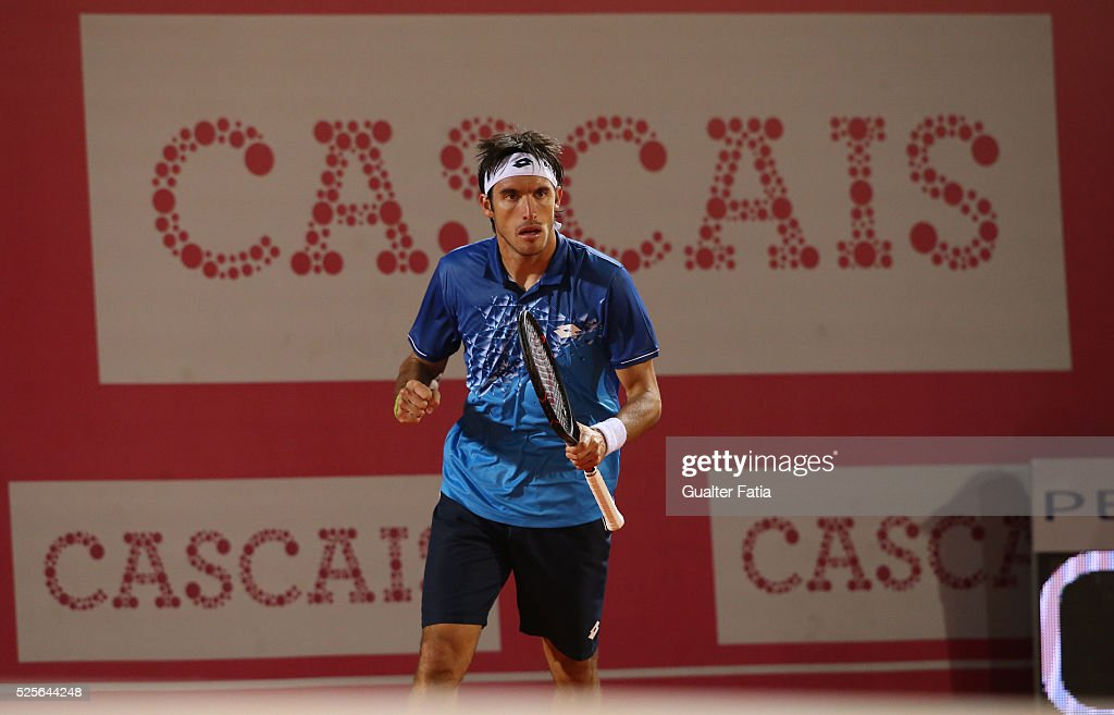 Leonardo Mayer from Argentina celebrates after a winning point during the match between Leonardo Mayer and Paolo Lorenzi for Millennium Estoril Open at Clube de Tenis do Estoril on April 28, 2016 in Estoril, Portugal.