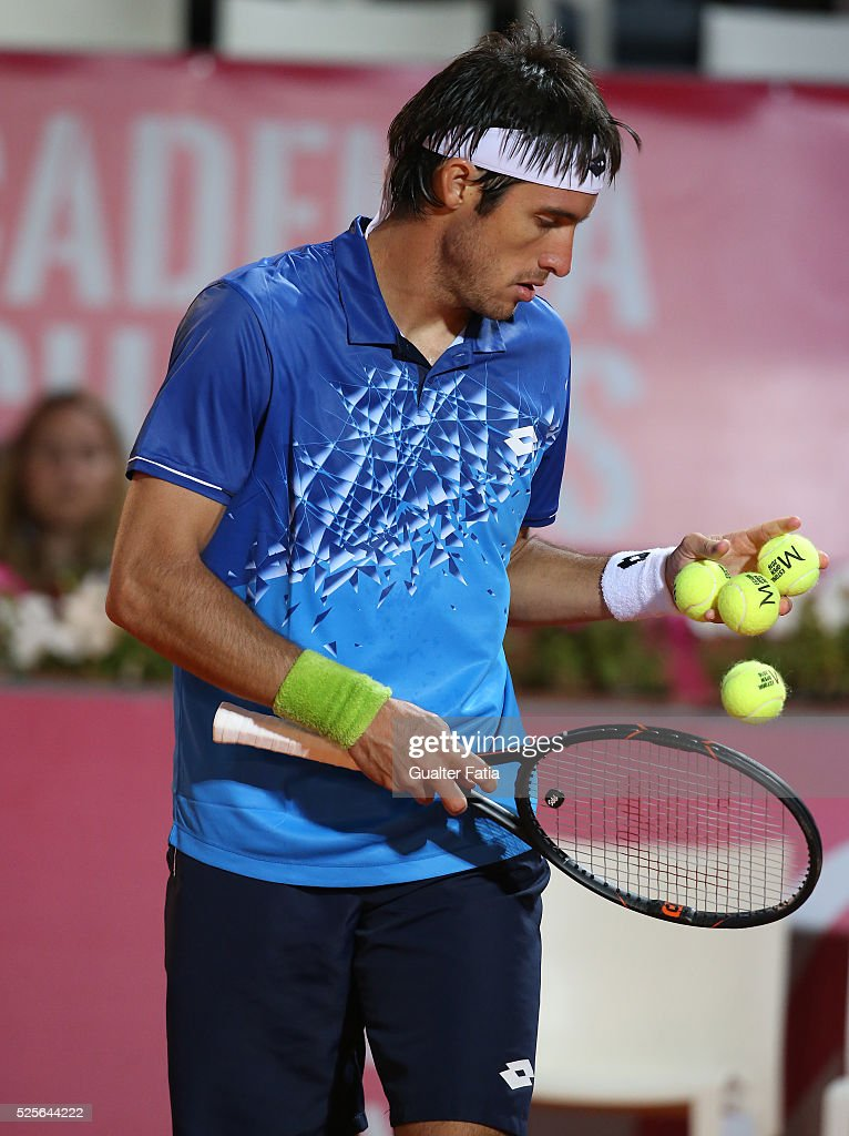 Leonardo Mayer from Argentina during the match between Leonardo Mayer and Paolo Lorenzi for Millennium Estoril Open at Clube de Tenis do Estoril on April 28, 2016 in Estoril, Portugal.