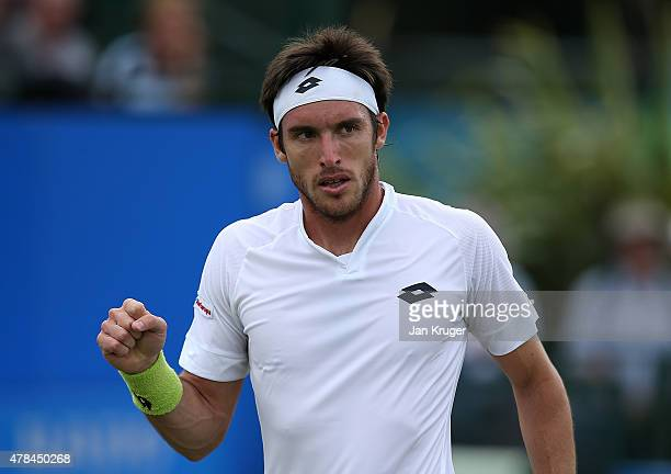 Leonardo Mayer of Argentina celebrates a point against Denis Istomin of Uzbekistan during their quarter final match on day five of the Aegon Open...