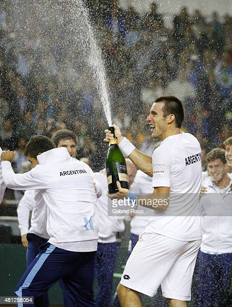 Leonardo Mayer of Argentina celebrates after winning a quarter final doubles match between Carlos Berlocq / Leonardo Mayer and Viktor Troicki / Nenan...