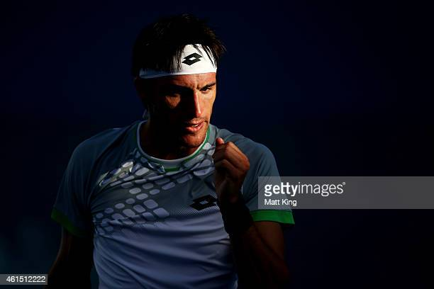 Leonardo Mayer of Argentina celebrates winning a point in his match against Jerzy Janowicz of Poland during day four of the 2015 Sydney International...