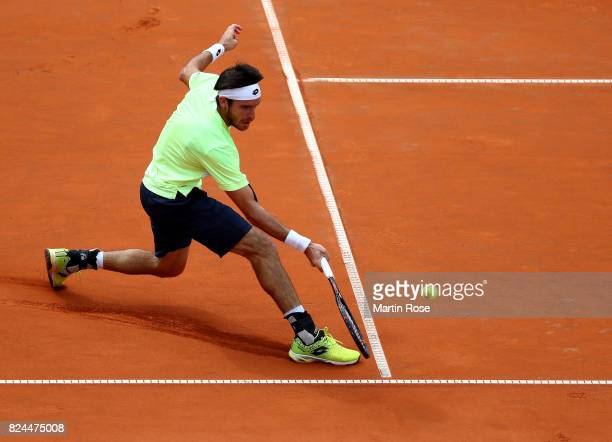 Leonardo Mayer of Argentina in action during his final match against Florian Mayer of Germany during the International German Open at Rothenbaum on...