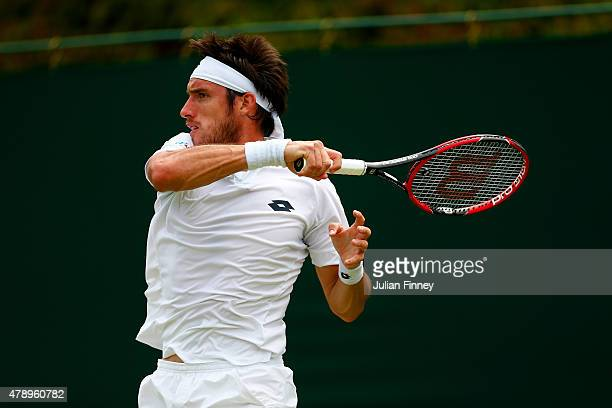 Leonardo Mayer of Argentina in action in his Gentlemen's Singles first round match against Thanasi Kokkinakis of Australia on day one of the...