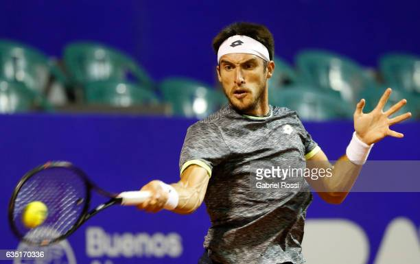 Leonardo Mayer of Argentina takes a forehand shot during a first round match between Leonardo Mayer of Argentina and Gastao Elias of Portugal as part...