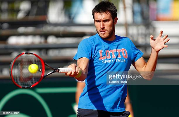 Leonardo Mayer of Argentina takes a forehand shot during a training session prior to a match between Argentina and Brazil as part of Davis Cup 2015...