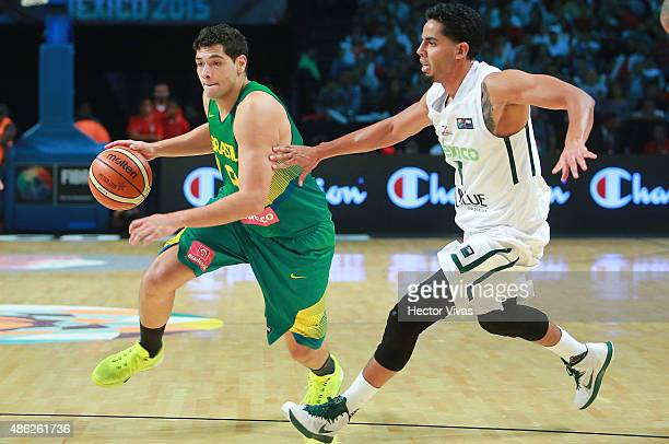 Leonardo Meindl of Brazil drives against Jorge Gutierrez of Mexico during a match between Mexico and Brazil as part of the 2015 FIBA Americas...